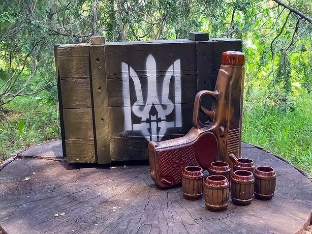 Подарок для мужчины, набор для спиртного Пистолет Макарова в ящике
