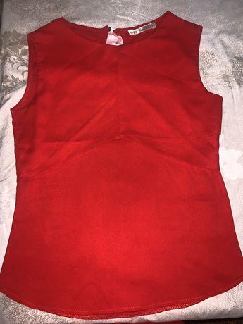 Блузка рубашка красная блуза
