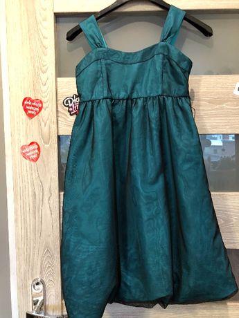 H&M sukienka butelkowa zieleń czarny tiul 134