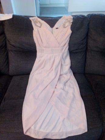 Lososiowa dluga sukienka wieczorowa S,XS