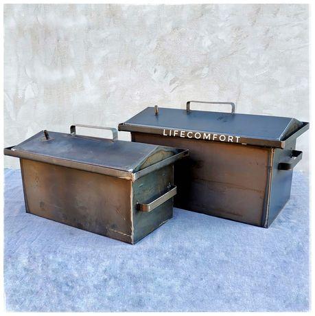 Коптильня бытовая с гидрозатвором и крышкой домиком - 2 размера