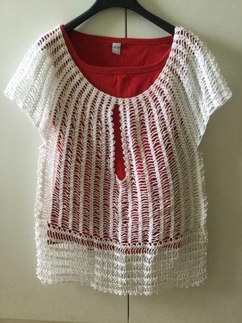 Bluzka wykonana szydełkiem bawełna nowa XXL rękodzieło