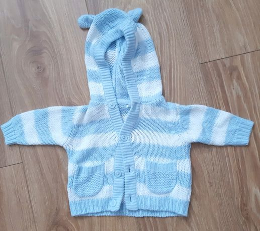 Sweterek niemowlęcy z biało niebieskie paski z kapturem z uszkami 1m
