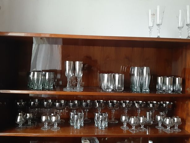 Komplet ze  szkła lustrzanego przyciemniane PRL
