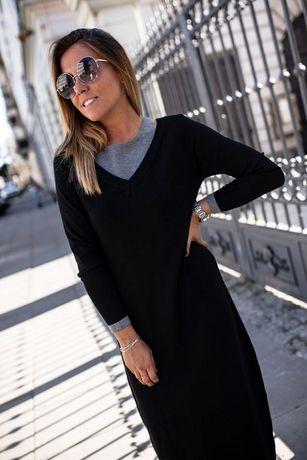 Sukienka Dzianinowa Maxi Czarna -Bastet L/XL