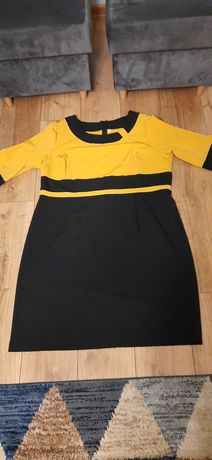 Czarno - musztardowa  sukienka