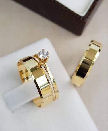 ZESTAW! Eleganckie Złote Obrączki Ślubne + Pierścionek Zaręczynowy
