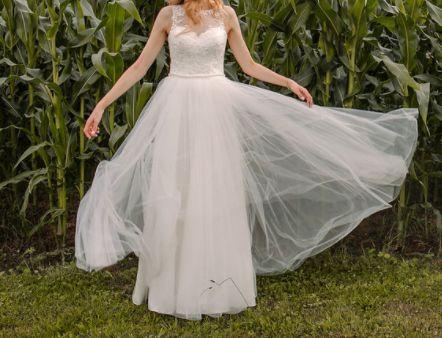Suknia ślubna rozm. 36, wzrost 170 cm - delikatna! Unikalny krój.