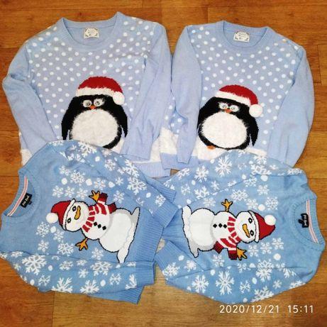 Новогодние свитера Family look, фотосесия, семейные кофты