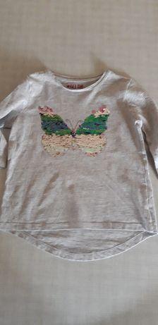 Siwa bluzeczka F&F z motylem z cekinów