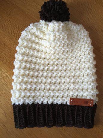 Ciepła czapka ręcznie robiona z mieszanki wrłny Merino handmade