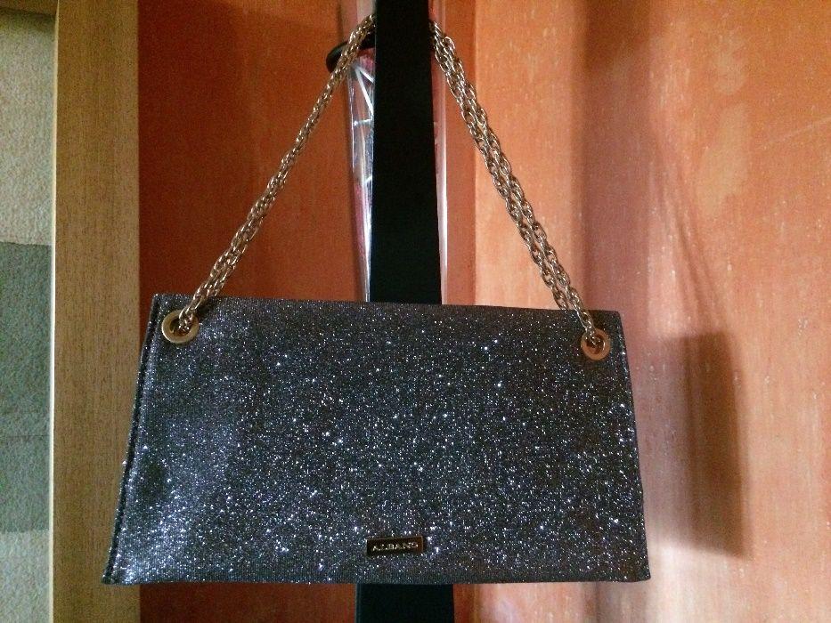 Clutch Albano - castanha escuro e dourado