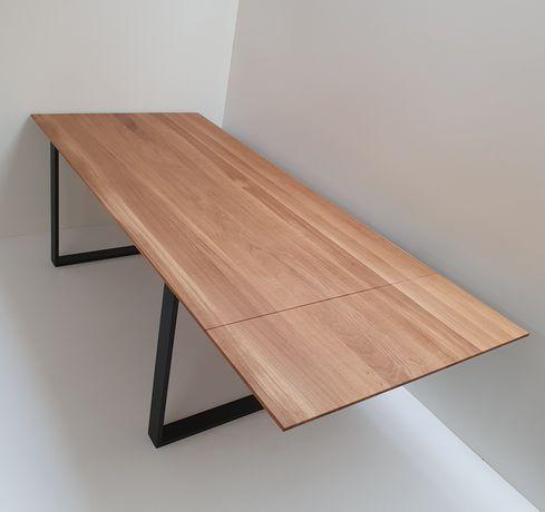 Stół drewniany, skandynawski, industrialny, dębowy, loft, krzesła