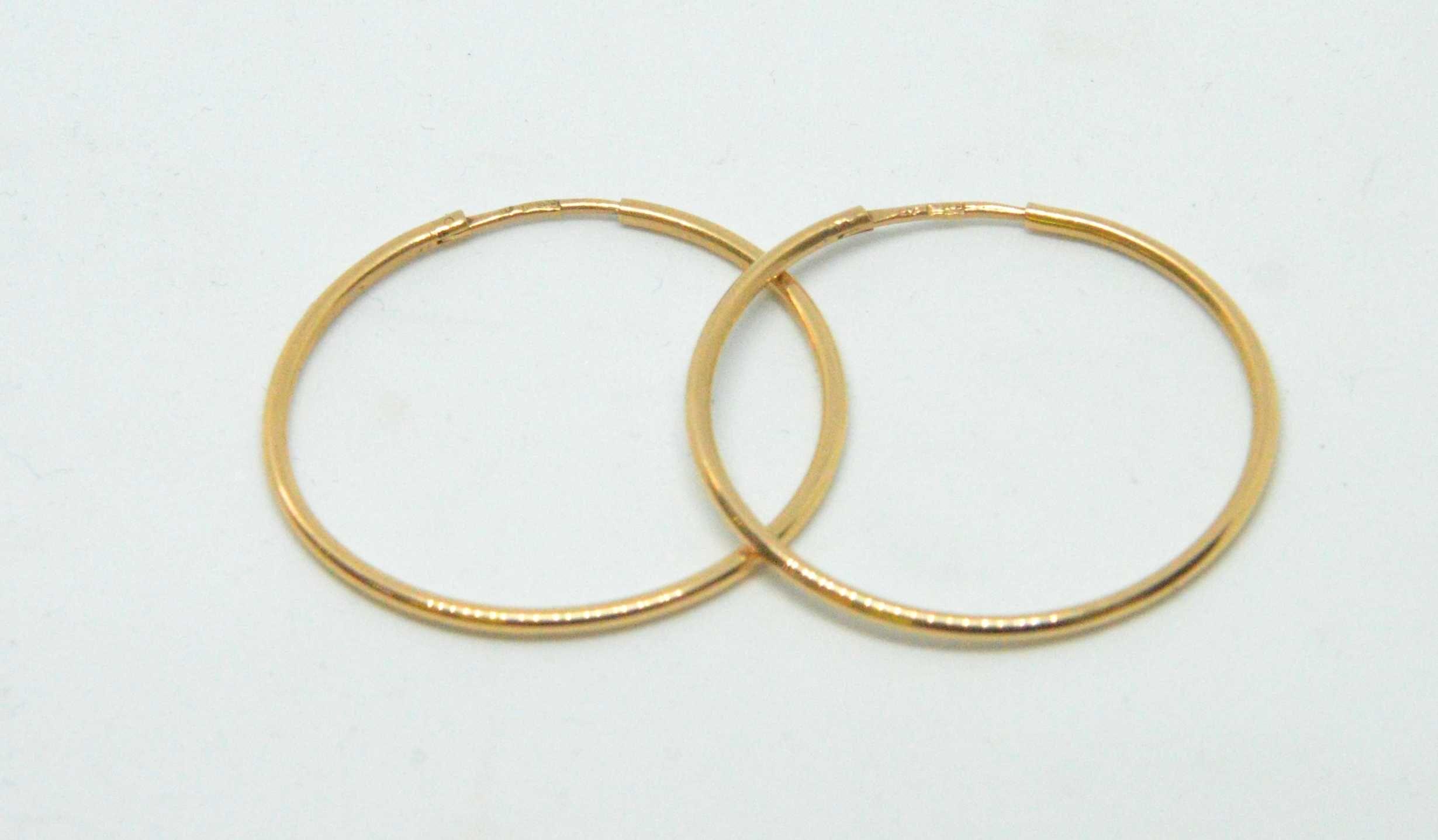 Kolczyki złote 585 koła waga 3,87g średnica 32mm Lombard Tarnów