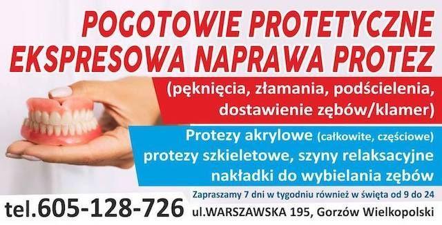 Ekspresowa Naprawa Protez. 7dni w tygodniu tel.605.128.726