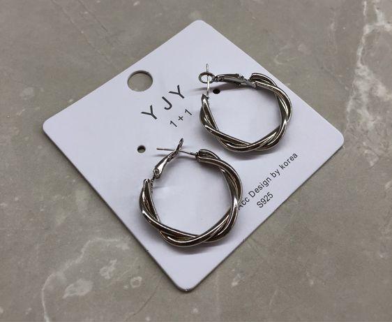 Круглі срібні сережки / круглые сережки серьги