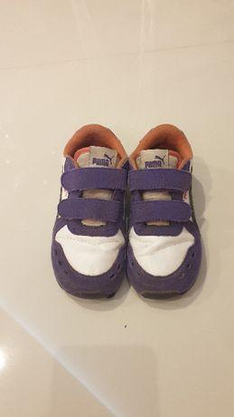 Buty dla dziewczynki ,adidasy PUMA oryginalne, rozmiar 26 biało-fiolet