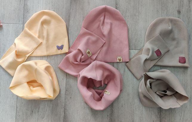 Komplety zestawy wiosenne czapka komin opaska przeplatana różne kolory