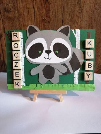 Kartka urodzinowa dla dziecka Roczek Szop lis sowa