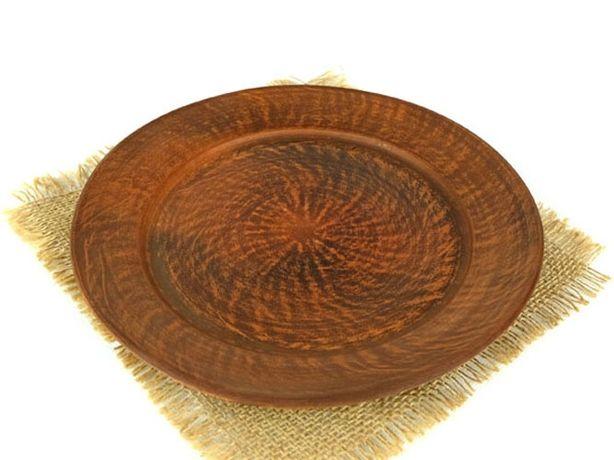 Тарелка для второго 250 мм из красной глины, гончарная посуда