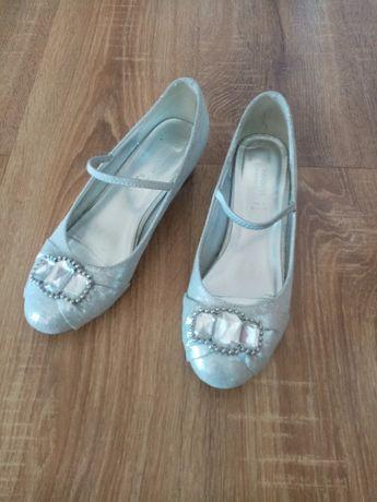 Buty pantofelki srebrne komunia