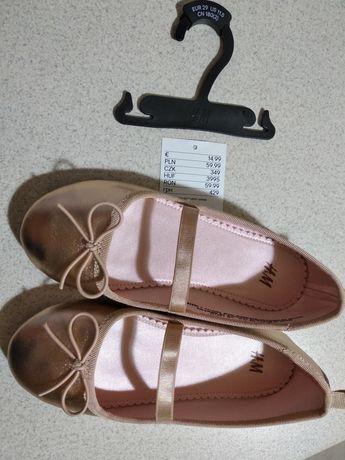Buciki baleriny pantofelki / buty jak nowe - piękne różowo-złote