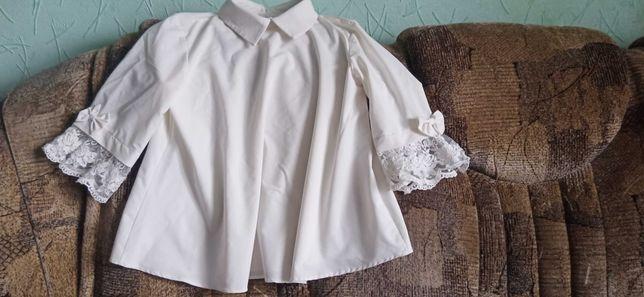 Школьная белая  блузка рост 128