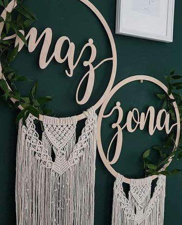 Koło mąż żona ślub wesele boho dekoracja ścianka krzesła łapacz snów
