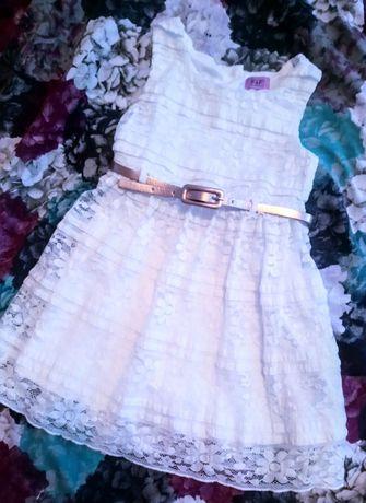 Шикарное нарядное платье, сарафан с пояском на 2-3 года, рост 92-98 см