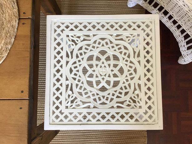 mesa, branca, apoio, centro, talha, decoração, rustico