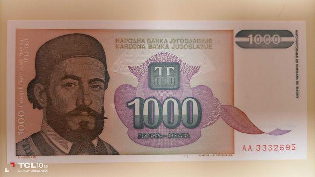 Jugoslávia - notas unc