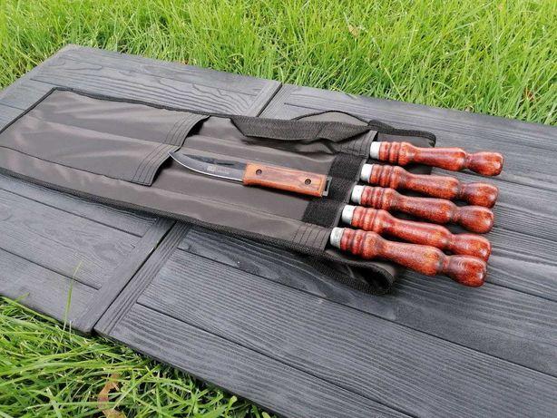 Подарочный набор из 6 шампуров в чехле из экокожи  + охотничий нож