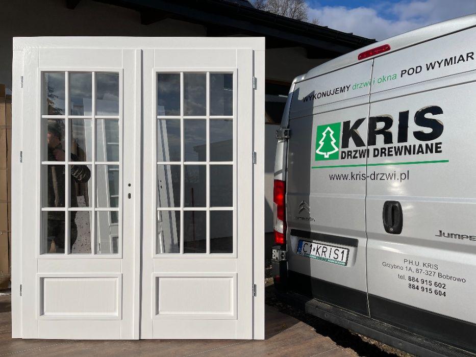 Drzwi dwuskrzydłowe drewniane z oscieżnicą regulowaną