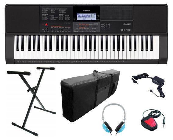 Keyboard Casio CT X700 pakiet Statyw Słuchawki Sustain Pokrowiec