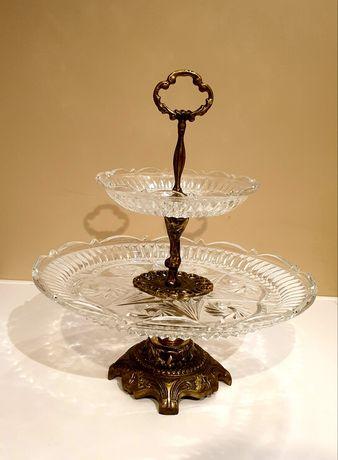 Patera mosiężna kryształowa 2-poziomowa