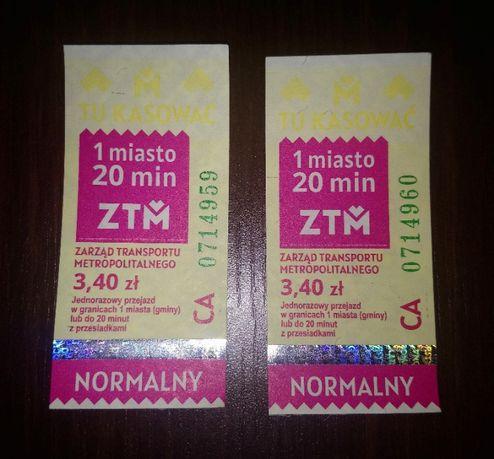 Bilety ZTM KZKGOP autobusowe i tramwajowe na 1 miasto 3,40