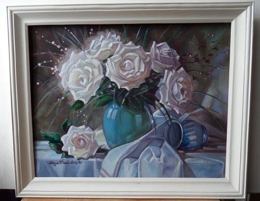 """Натюрморт """"Білі троянди"""" Олія, 40х50 см"""