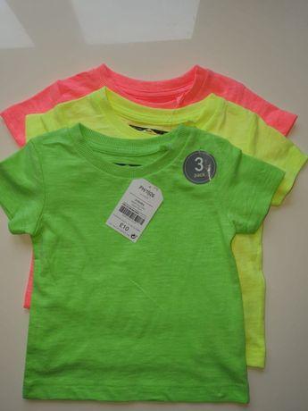 Nowe Next bluzeczki koszulki neonowe