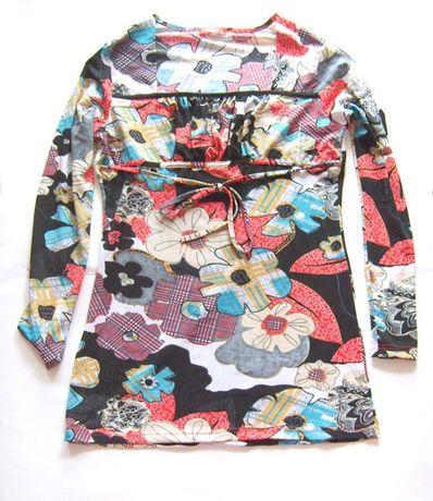 kolorowa bluzka z długim rękawem,elastyczna bluzka,bluzka w kwiaty boh