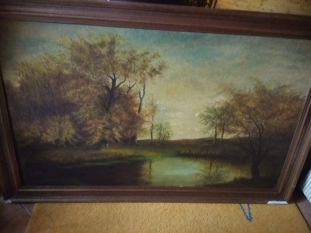 Grande quadro pintado em tela assinado L. Grondella 1979