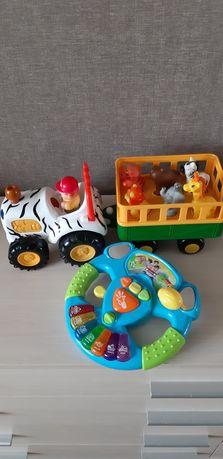 Детские игрушки, трактор сафари, спусковой трек, руль