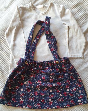 Komplecik zestaw H&M dla dziewczynki 80 spódniczka ogrodniczka