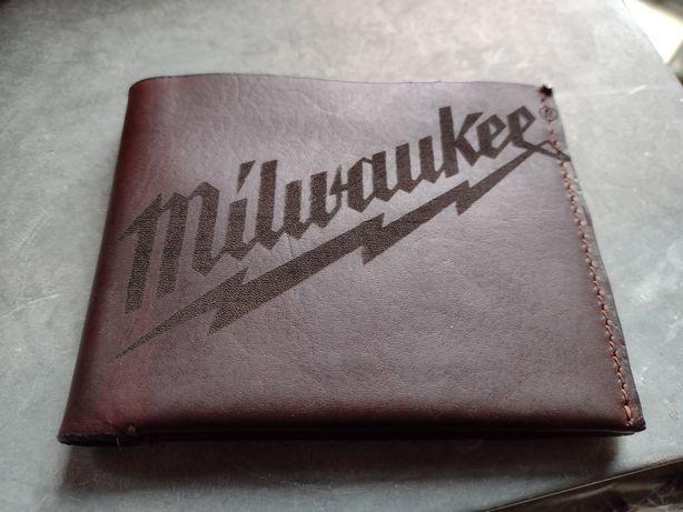 Nowy Męski Portfel Milwaukee Skóra Naturalna Brąz Premium Wysyłka