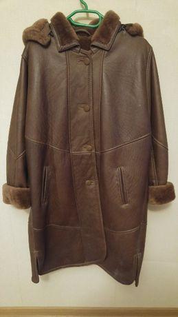 płaszcz zimowy futro skóra naturalna brązowa rozmiar M/L