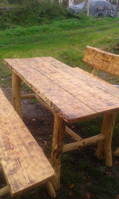 Stoły i ławki drewniane