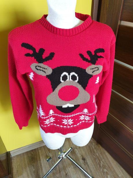 sweterek świąteczny z reniferem S czerwony Mikołajki Święta