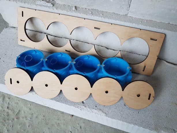 Шаблон, Кондуктор для сверления подрозетников, 70 диаметр 5 отверстий.