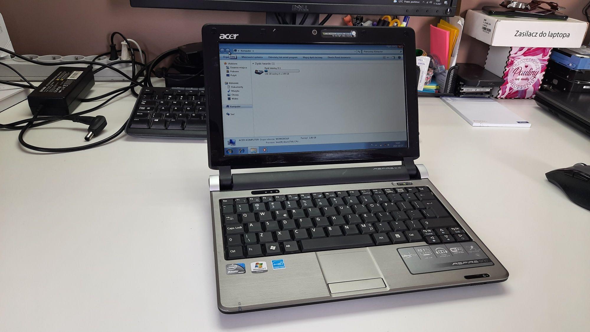 """Laptop Acer Aspire One 10.1"""" Windows 7 bateria 4 godziny !"""