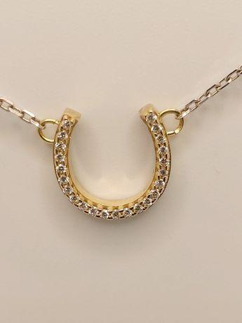 Золотое колье с подковой, бриллианты