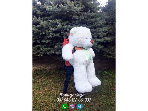 Мишка 200 см белый, плюшевый мишка 2 метра, медведь 2 метра